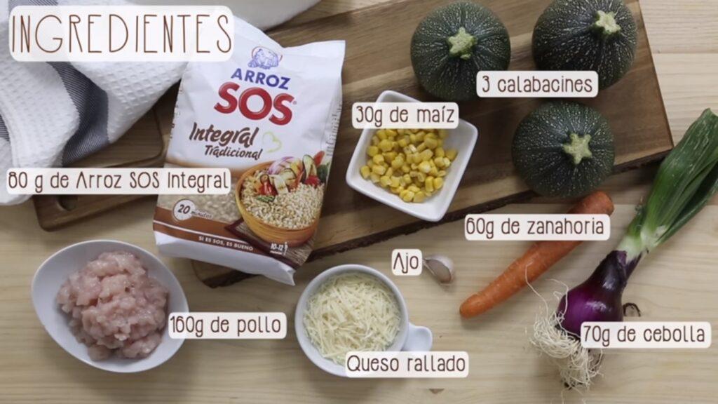 Ingredientes para cocinar Calabacines rellenos de arroz integral y pollo