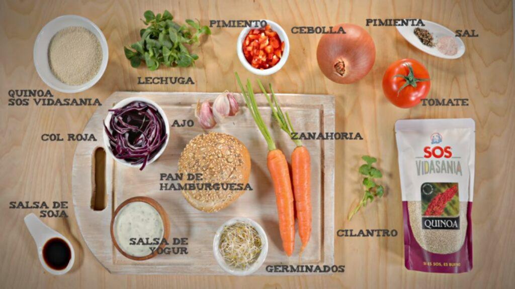 Ingredientes para hacer hamburguesa de quinoa blanca