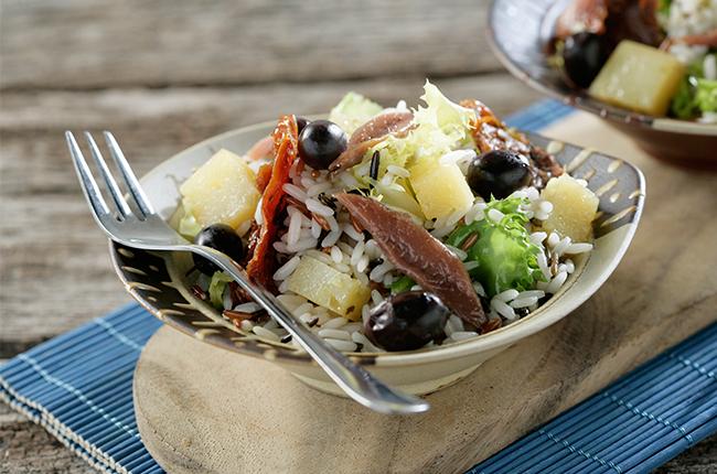 recetas ligeras con queso ensalada de arroz sos queso manchego con anchoas