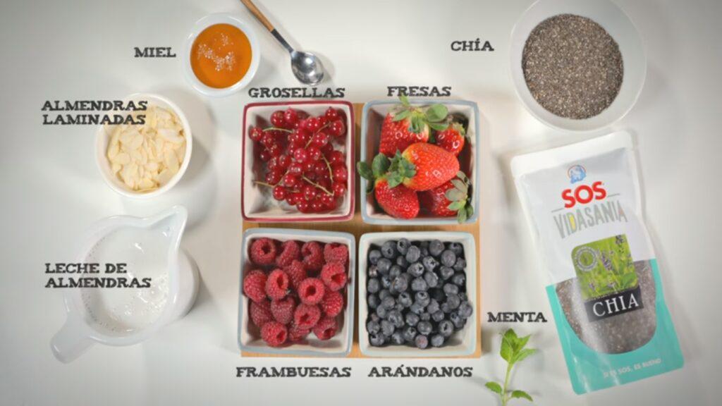 Ingredientes para hacer macedonia de frutas con yogur y chía