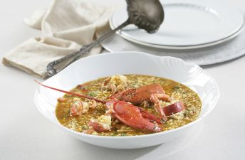 Delicioso arroz caldoso con bogavante
