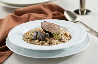 Exquisito arroz caldoso con carrilleras