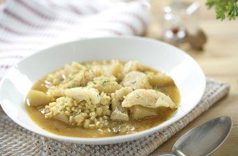 Arroz caldoso con bacalao y patatas