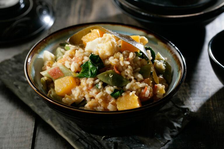 Arroz integral con quinoa, calabaza y kombu