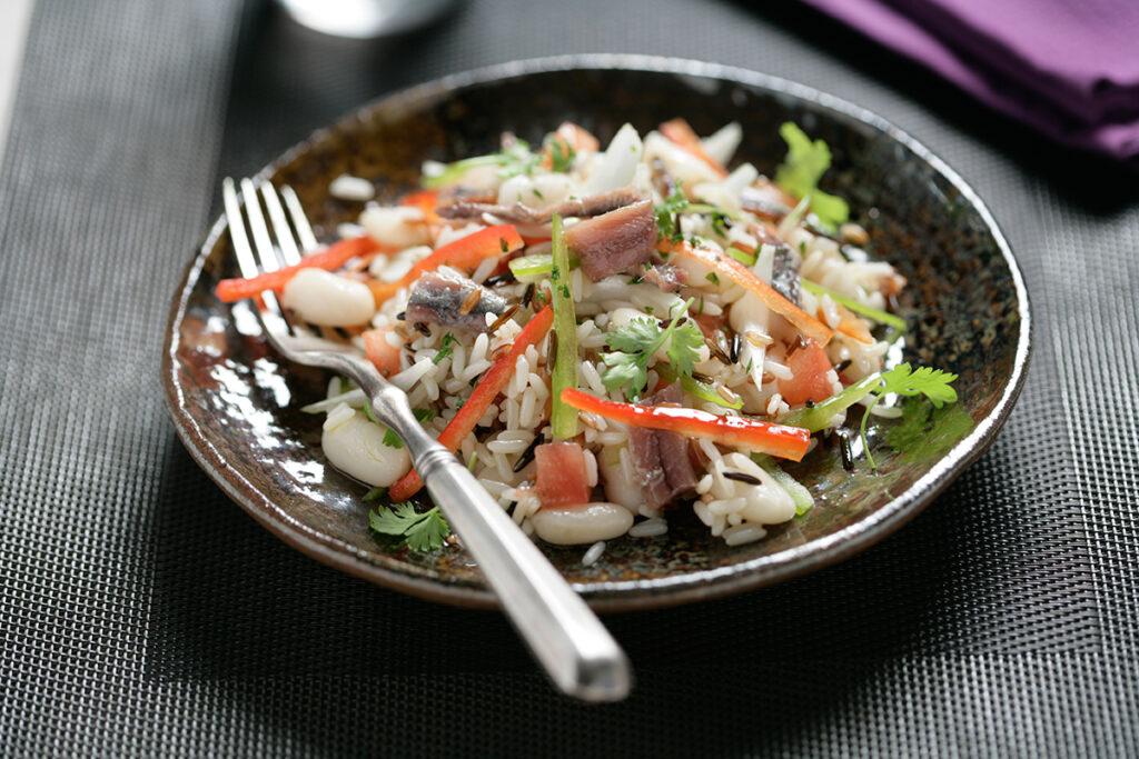 Ensalada de arroz y alubias