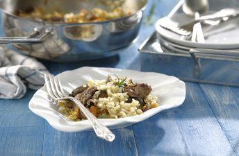 Delicioso arroz con setas, confit de pato y foie