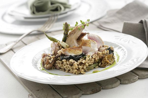 Codorniz con arroz de morcilla, setas y verduras