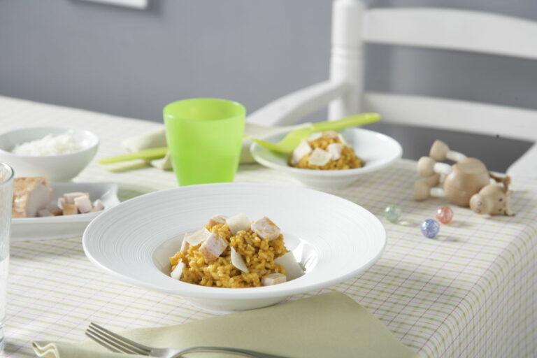 Cremoso de arroz y pechuga de pollo