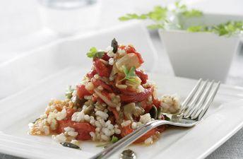 Deliciosa escalivada con arroz integral y quinoa