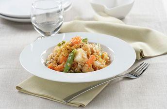 Delicioso estofado de verduras con quinoa y arroz