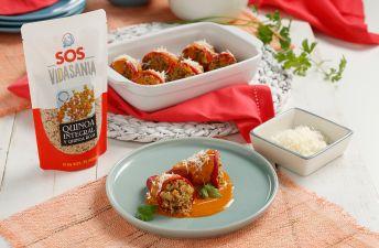 Pimientos rellenos de quinoa integral y roja SOS Vidasania