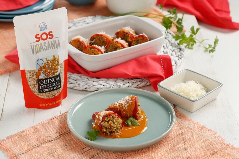 Pimientos rellenos de quinoa integral y roja