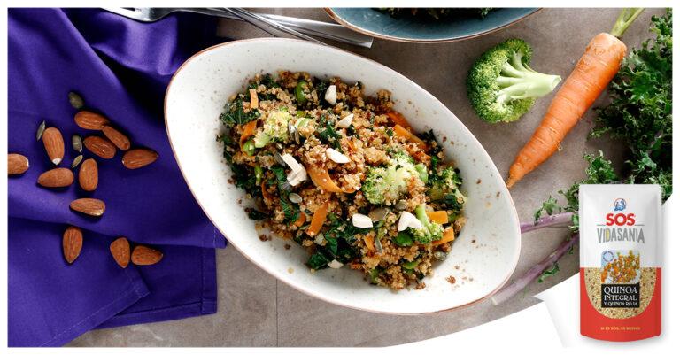 Salteado de quinoa con verduras y salsa de soja