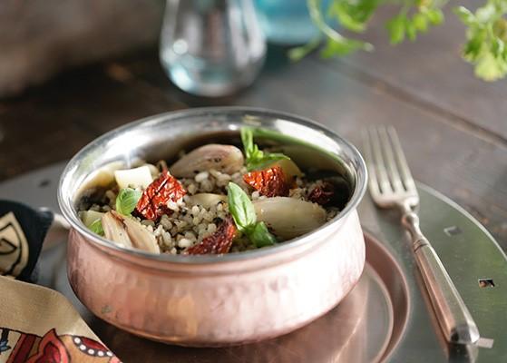 arroz sos integral con champiñones